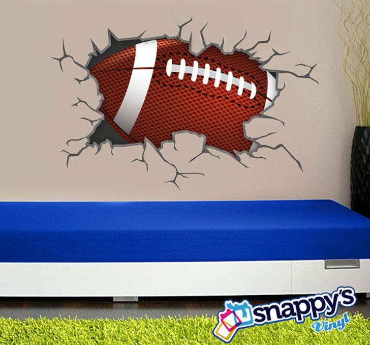Football Breaking Through Wall Scene
