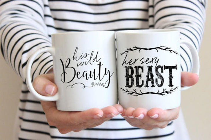 50 creative anniversary gifts for parents that are unique funny beauty beast mugs anniversary gifts for parents solutioingenieria