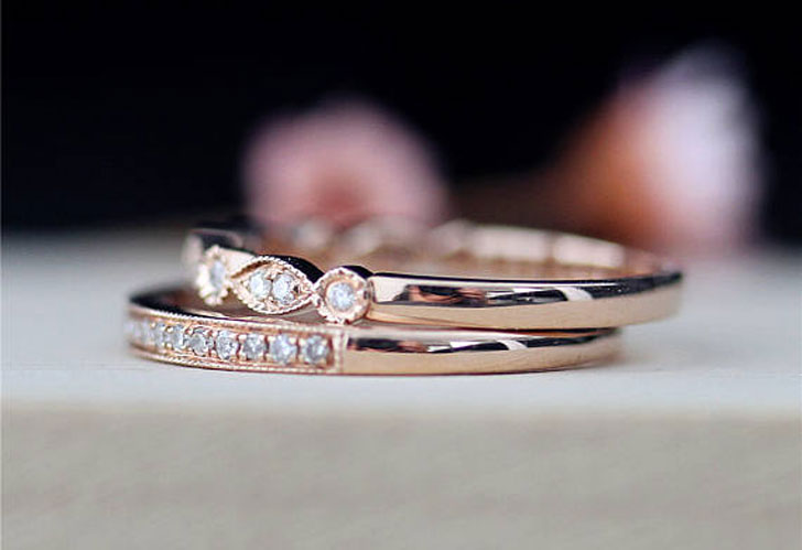 Gold and Diamond Matching Promise Rings