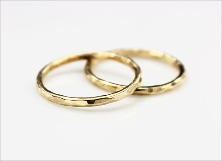 Hammered Gold Matching Couple Rings