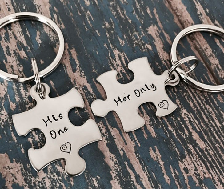 His One - Her Only Matching Puzzle Key rings - anniversary gifts for parents