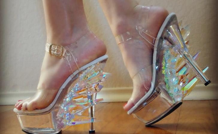 Iridescent Clear Crystal Heels