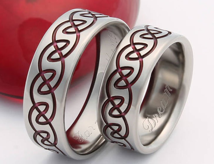 Irish Celtic Titanium Promise Rings