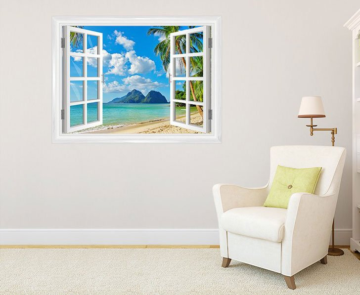 Island Paradise Window Wall Decal