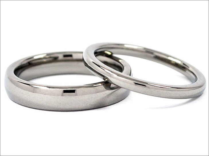 Matching Titanium His and Hers Rings