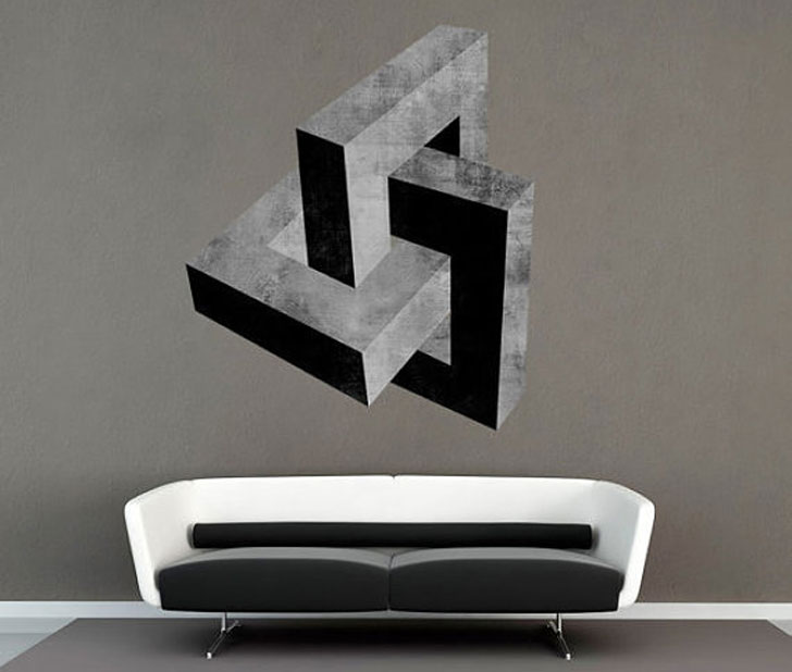 Mid Century Cement Effect 3D Wall Decal