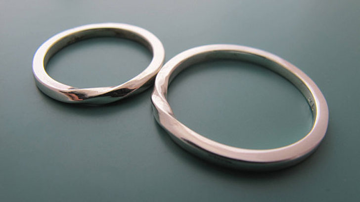 Minimalist Couples Silver Ring Set