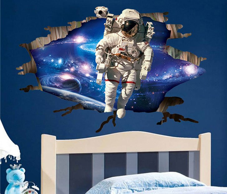 Outer Space Astronaut Wall Decal