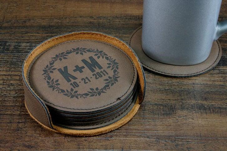 Personalised Leather Coaster Set