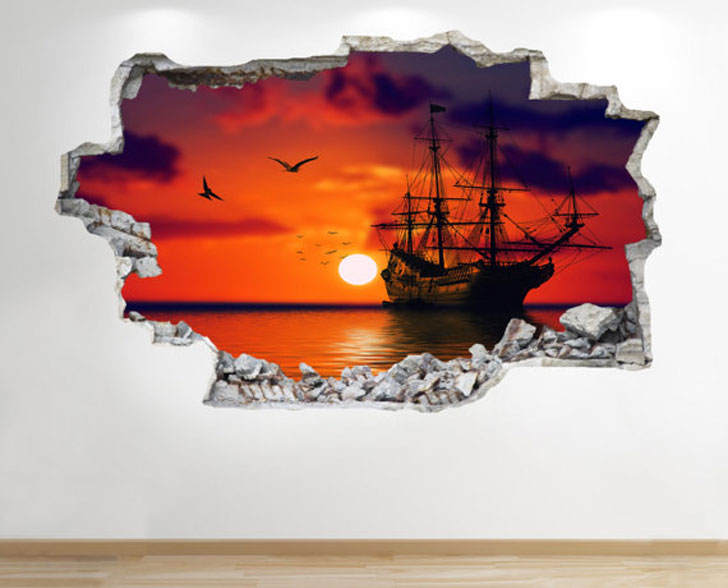 Pirate Ship Sunset Wall Decal