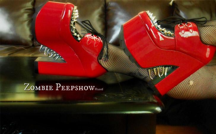 """Platform Claw Spike """"Sunset Strip"""" Red Vinyl Heels"""