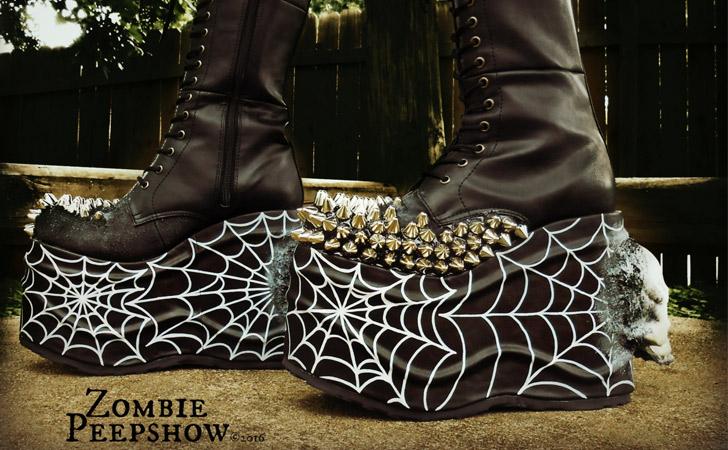 Platform Spider Web Studded Skull Boots