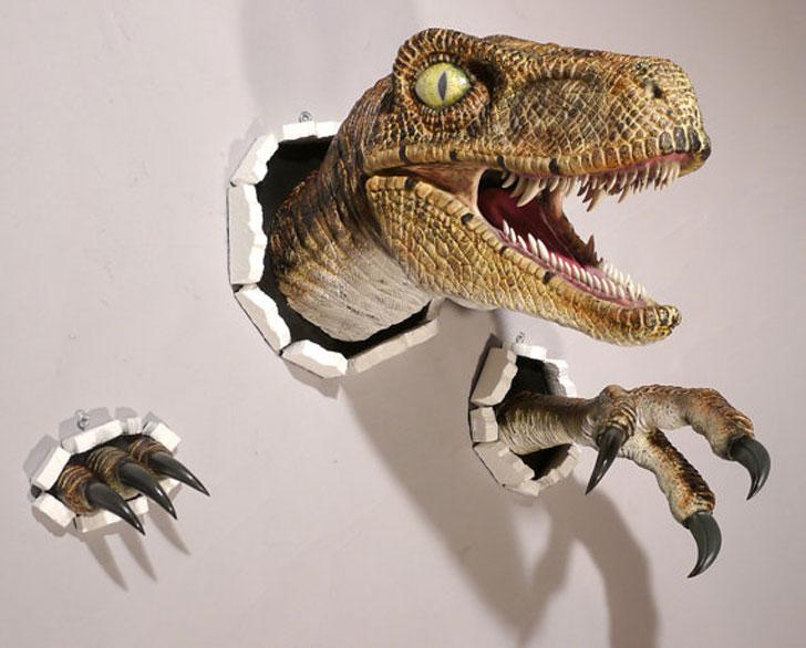 Realistic Wall Bursting Velociraptor Set