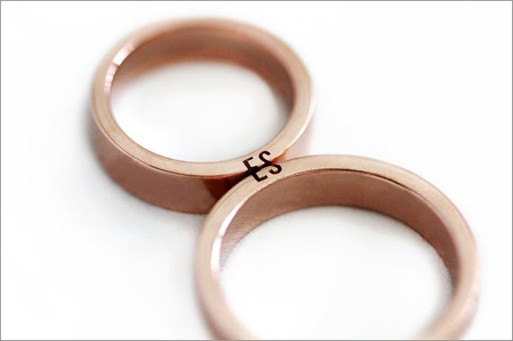 Rose Gold Matching Initial Promise Rings