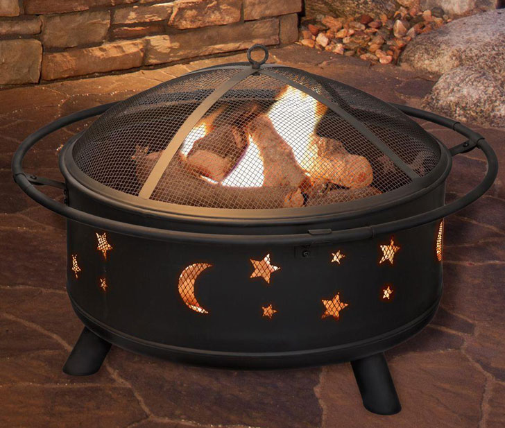 Round Steel Moon & Star Fire Pit With Cover