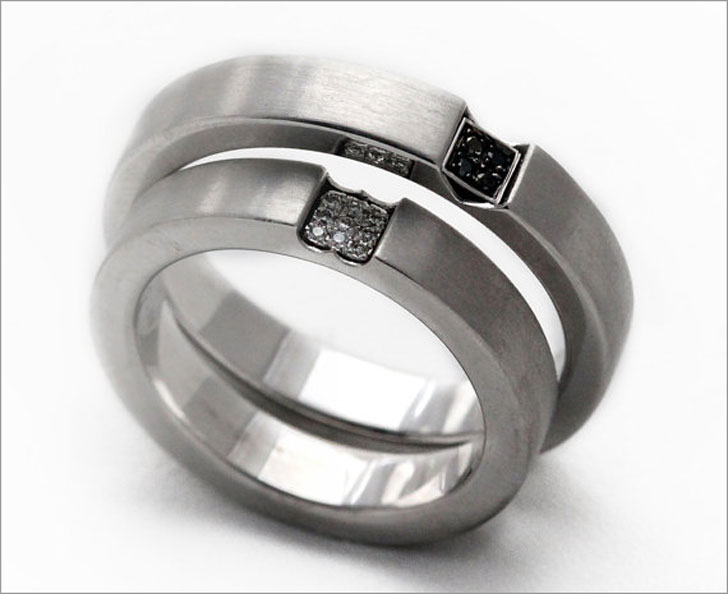 Solid Sterling Silver and Diamond His and Hers Promise Ring