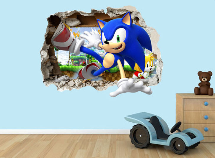 Sonic The Hedgehog 3D Wall Decal