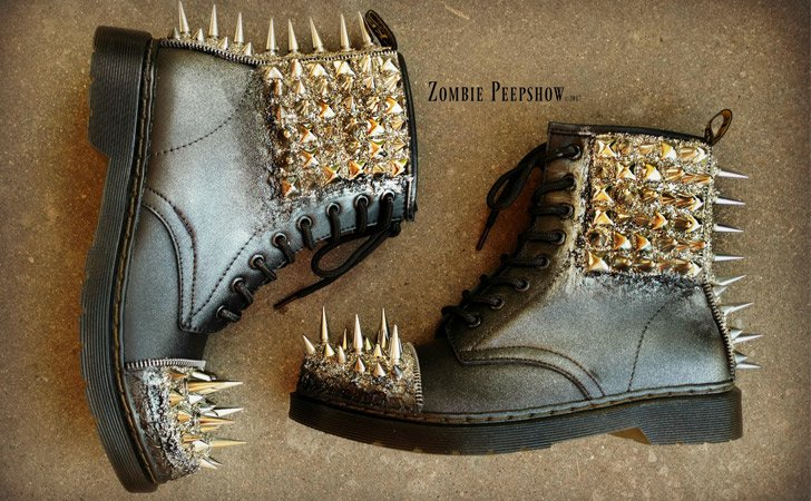 "Spiked ""Dropout"" Combat Boots - weird shoes"