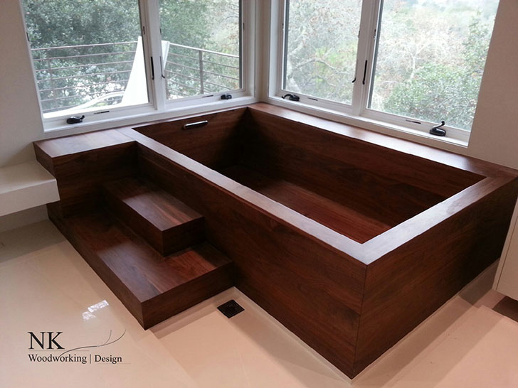 Square Wooden Bathtub by NK Woodworking Design