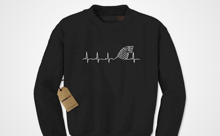 Stark Direwolf Heartbeat Hoodie