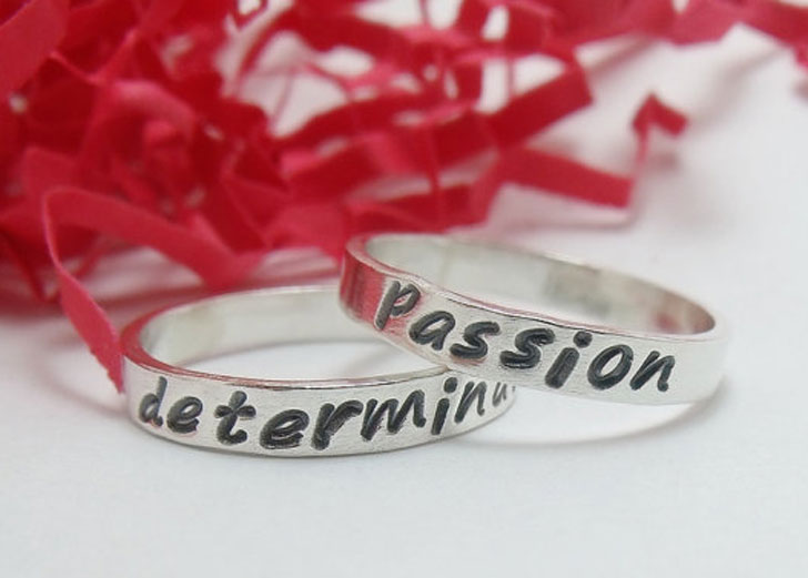 Sterling Silver Hand Stamped Promise Rings