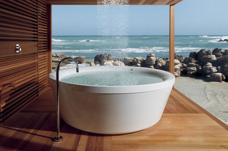 The Kos Freestanding 180 Outdoor Bathtub - cool bathtubs