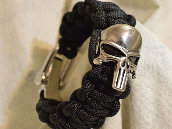 The Punisher Silver Logo Paracord Bracelet