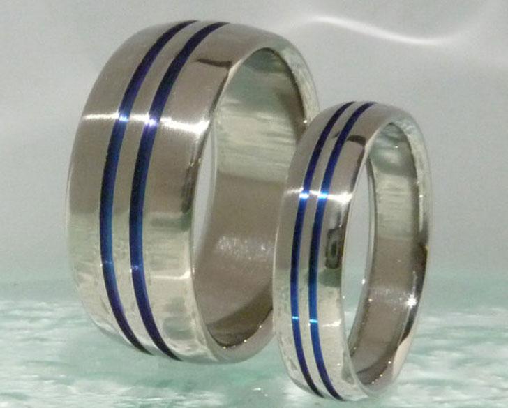 Thin Blue Line Titanium Rings