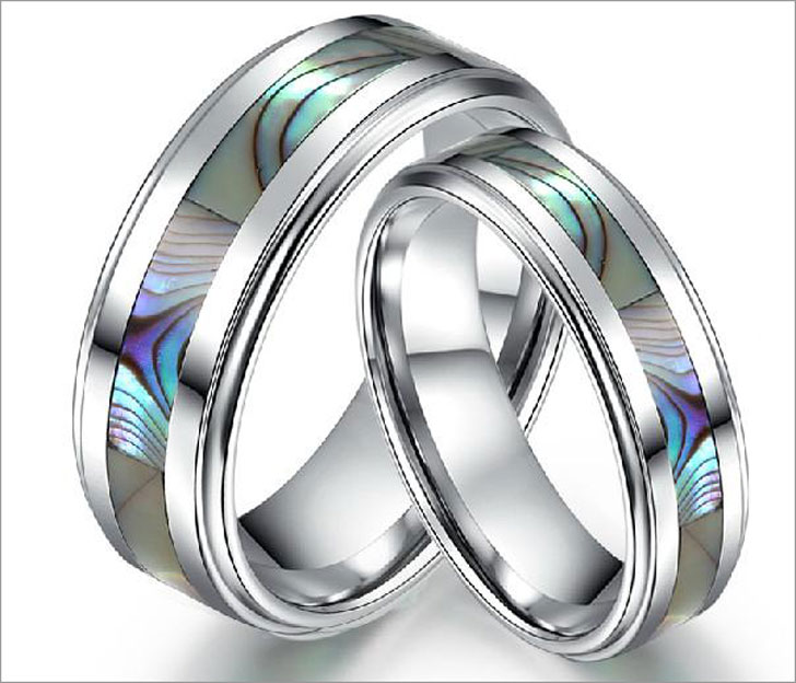 Tungsten Bands with Seashell Inlay
