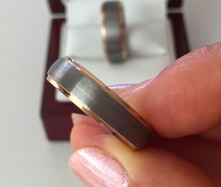 Tungsten Carbide His and Hers Promise Rings
