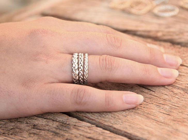Unique Silver Braided Couples' Rings