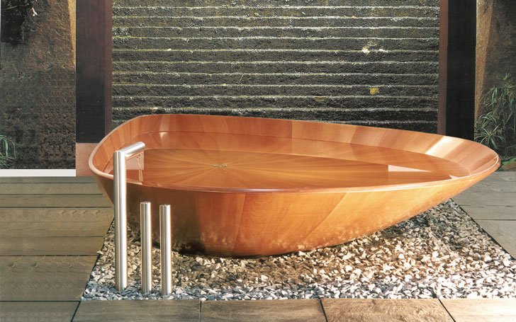 Wave Diamond Wooden Bathtub