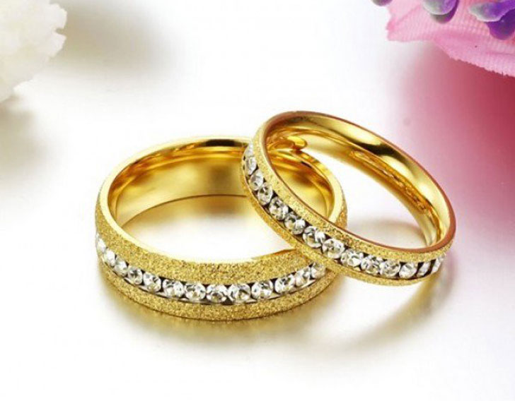 White Sapphire Titanium Couple Rings
