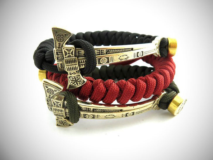 Woven Snake Knot Axe Spacers Paracord Bracelets