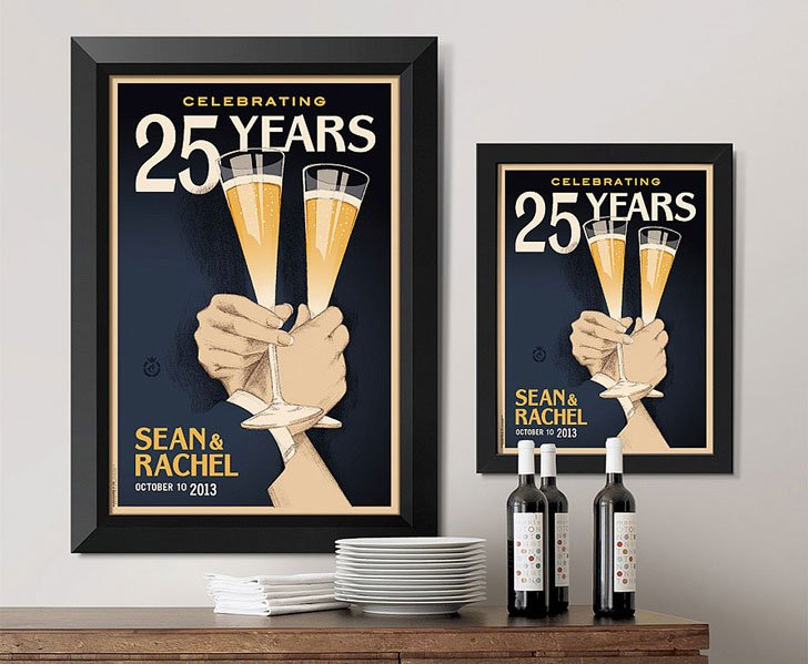 Customizable Toasting Anniversary Art - Anniversary Gifts For Parents