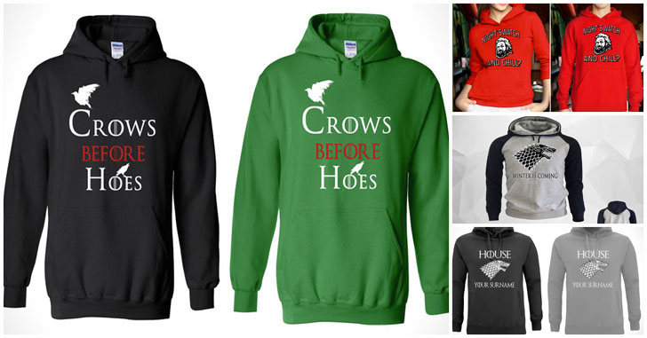 Crows before Hoes games of Jumper John Snow Nights thrones inspired CROWS,SWEAT