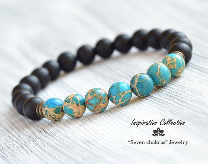8mm Blue Imperial Jasper Onyx Bracelet, Men's Bracelet