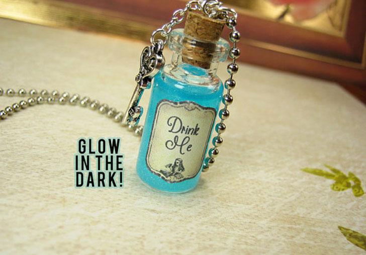 Alice in Wonderland Vial Pendant - unusual necklaces