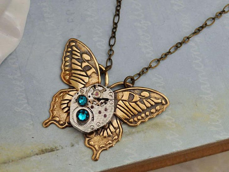 Antique Brass Butterfly Steampunk Necklace