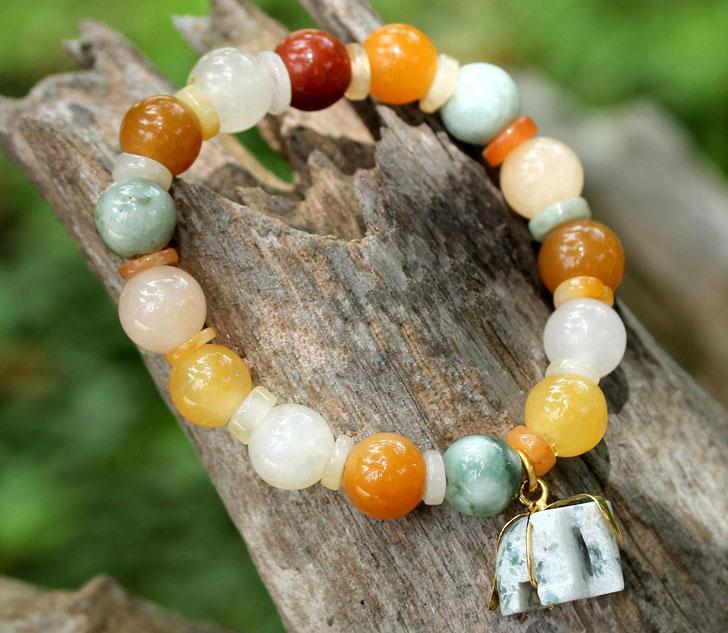 Beaded Jade and Quartz Bracelet