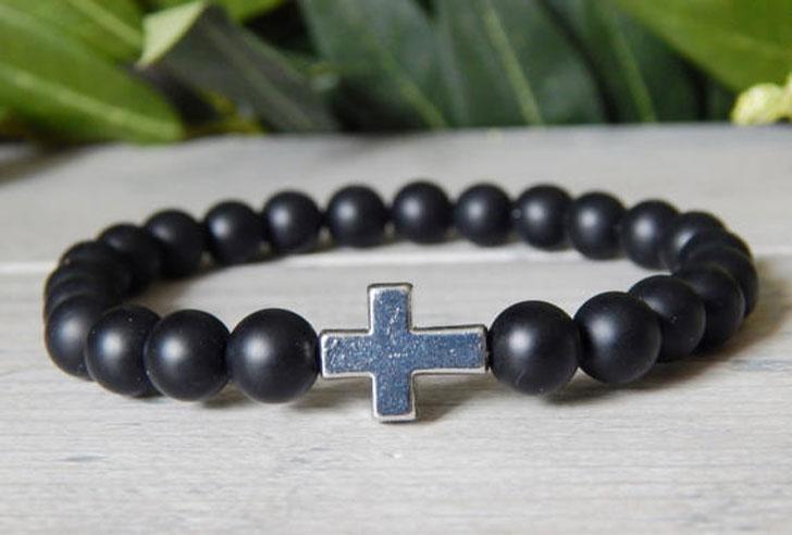 Black Beaded Christian Bracelet