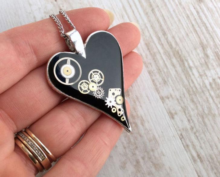 Black Clockwork Heart Pendant