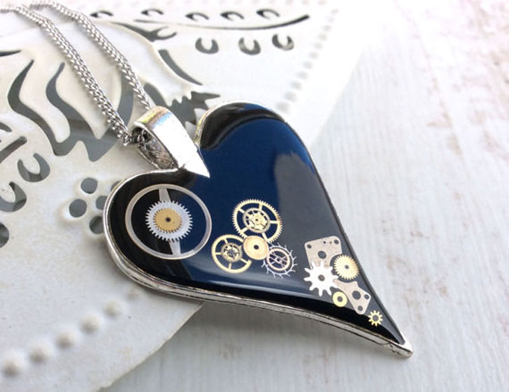 Black Clockwork Heart Pendant