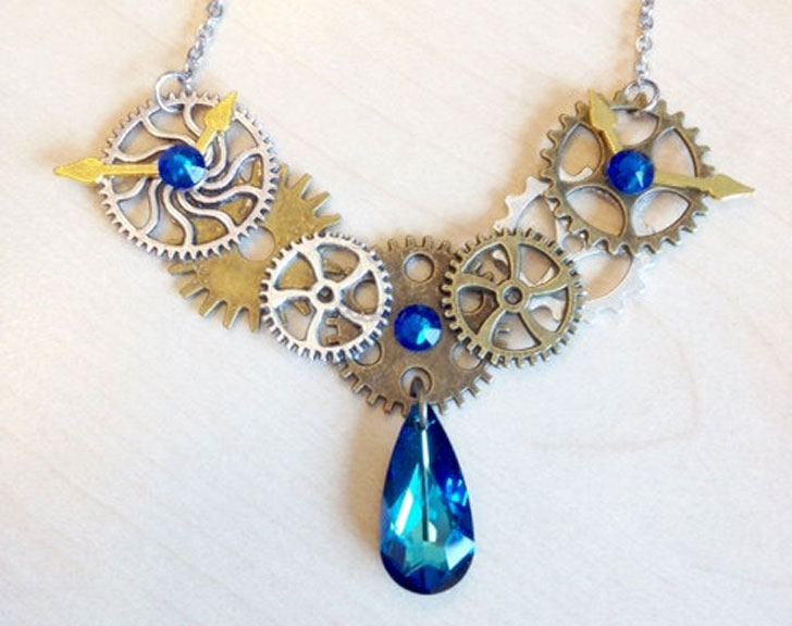 Blue Crystal Cogs and Gear Necklace