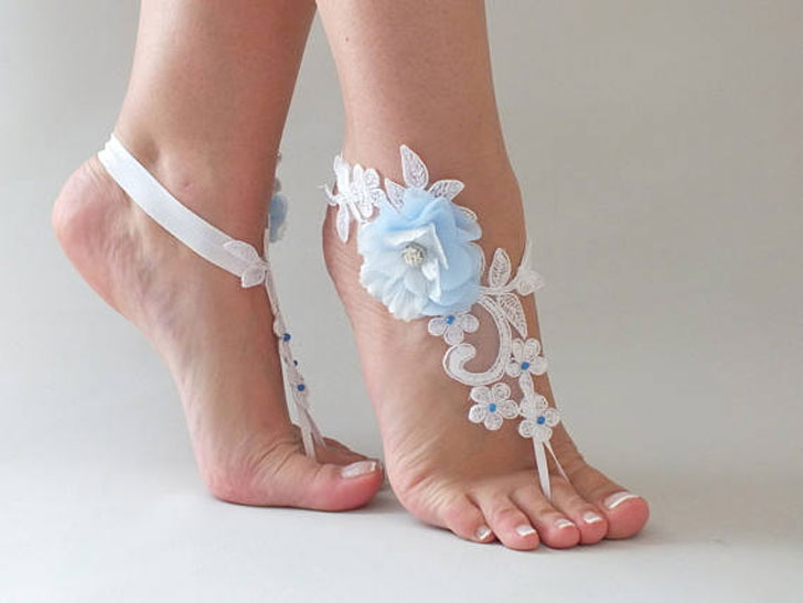 Blue Flower Lace Sandals
