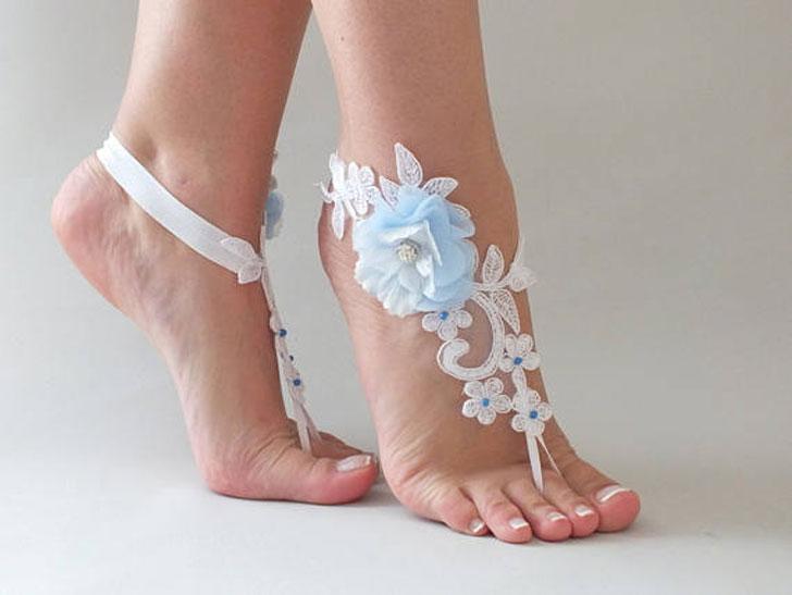 Blue Flower Lace Sandals