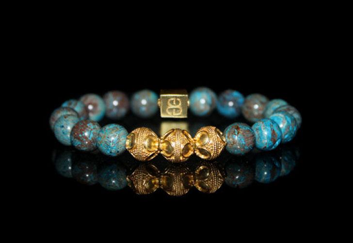 Blue Jasper and Gold Vermeil Bracelet
