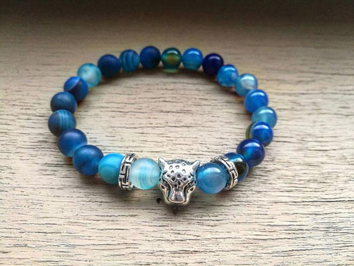 Blue Leopard Beaded Bracelet