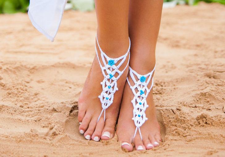 Blue & White Barefoot Beach Wedding Sandals