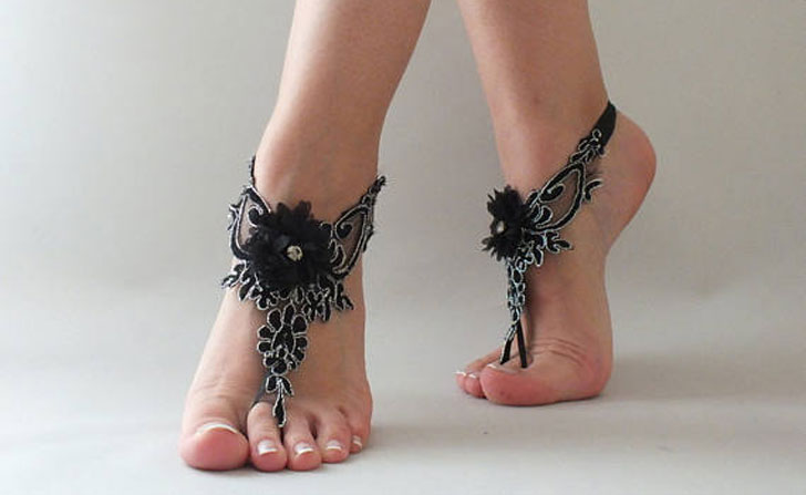 Bohemian Black Lace Barefoot Sandals Rehearsal Dinner